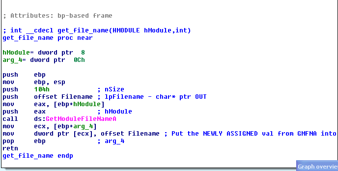 GetModuleFilenameA usage