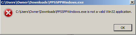 Invalid Win32 Application error on Windows 7